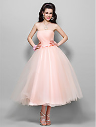 cheap -Ball Gown 1950s Pink Prom Formal Evening Dress Strapless Sleeveless Tea Length Tulle with Bow(s) Ruched 2020