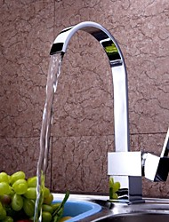 cheap -Kitchen faucet - One Hole Chrome Tall / ­High Arc Deck Mounted Contemporary Kitchen Taps / Single Handle One Hole