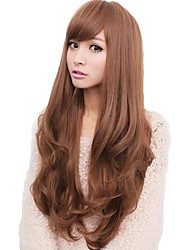cheap -Synthetic Wig Wavy Wavy With Bangs Wig Long Flaxen Light Brown Dark Brown Honey Brown Black Synthetic Hair 21 inch Women's Side Part With Bangs Brown Gray