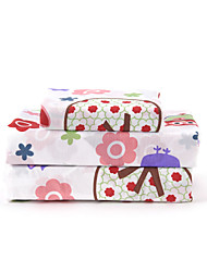 cheap -Sheet Set - Microfibre Floral 1pc Flat Sheet / 1pc Fitted Sheet / 2pcs Pillowcases (only 1pc pillowcase for Twin or Single)