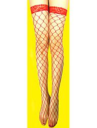 Недорогие -Жен. Кружева Тонкая ткань Сексуальные платья Чулки - Однотонный Тонкая Чулки в сетку Белый Черный Красный Один размер