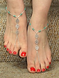 cheap -Women's Body Jewelry Anklet / Barefoot Sandals / feet jewelry Silver-Blue Dainty / Ladies / Personalized Alloy Costume Jewelry For Christmas Gifts / Daily / Casual 10.0*8.0*2.0 cm Summer