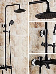 cheap -Shower Faucet - Antique Oil-rubbed Bronze Shower System Ceramic Valve Bath Shower Mixer Taps / Brass / Single Handle Three Holes