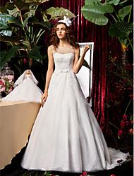 cheap -A-Line Jewel Neck Sweep / Brush Train Chiffon / Lace Sleeveless See-Through Wedding Dresses with Bowknot / Sash / Ribbon / Beading 2020