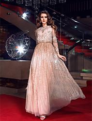 cheap -Sheath / Column Elegant Sparkle & Shine See Through Prom Formal Evening Military Ball Dress Bateau Neck Long Sleeve Floor Length Tulle with Beading 2020