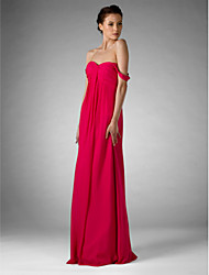 cheap -Sheath / Column Off Shoulder / Sweetheart Neckline Floor Length Chiffon Bridesmaid Dress with Ruched / Draping