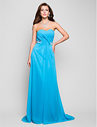 cheap -Ball Gown Open Back Prom Formal Evening Military Ball Dress Sweetheart Neckline Strapless Sleeveless Floor Length Chiffon with Criss Cross Crystals Draping 2021
