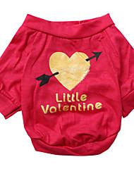 abordables -Chien Tee-shirt Vêtements pour Chien Respirable Rouge Rose Costume Coton Cœur XS S M L