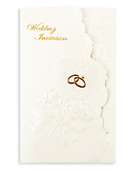 "cheap -Tri-Fold Wedding Invitations 50 - Invitation Cards Floral Style Pearl Paper 7 1/5""×5"" (18.4*12.8cm)"