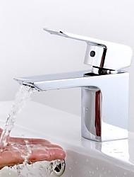 cheap -Bathroom Sink Faucet - Standard Chrome Centerset One Hole / Single Handle One HoleBath Taps / Brass