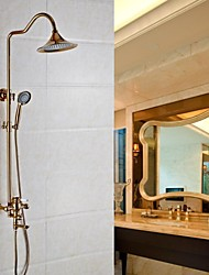 cheap -Shower Faucet - Antique Rose Gold Wall Mounted Ceramic Valve Bath Shower Mixer Taps / Brass