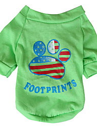 cheap -Dog Shirt / T-Shirt Dog Clothes Breathable Yellow Green Costume Cotton American / USA National Flag XS S M L