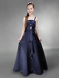cheap -A-Line / Princess Spaghetti Strap Floor Length Satin Junior Bridesmaid Dress with Side Draping / Crystal Brooch by LAN TING BRIDE® / Spring / Summer / Fall / Winter / Apple