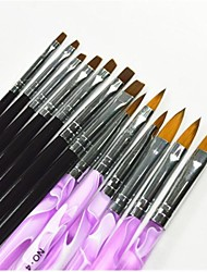 cheap -13 pcs black purple color painting drawing nail art pen brushes set for manicure uv gel false tips acrylic
