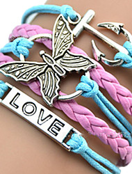 cheap -Women's ID Bracelet Wrap Bracelet Leather Bracelet Layered Plaited Wrap woven Heart Butterfly Animal Ladies Unique Design European Fashion Inspirational Leather Bracelet Jewelry Pink / Blue For