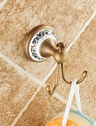 cheap -Robe Hook High Quality Cute Antique Brass Ceramic 2 pc - Hotel bath