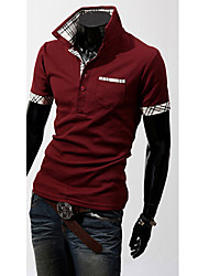 cheap -Men's Daily Weekend Business / Active Cotton Slim Polo - Solid Colored Shirt Collar Coffee / Short Sleeve
