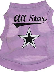 cheap -Cat Dog Shirt / T-Shirt Puppy Clothes Heart Stars Dog Clothes Puppy Clothes Dog Outfits Purple Costume for Girl and Boy Dog Cotton XS S M L