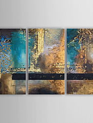 cheap -Oil Painting Hand Painted Abstract Canvas Three Panels With Stretched Frame
