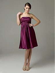 cheap -Princess / A-Line Strapless Knee Length Satin Bridesmaid Dress with Pleats / Beading / Draping