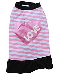 cheap -Cat Dog Dress Dog Clothes Pink Costume Cotton Heart Letter & Number XS S M L