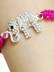 cheap -Women's Charm Bracelet Elephant Alphabet Shape Animal Unique Design Fashion Rhinestone Bracelet Jewelry Fuchsia / Green / Blue For Birthday Gift Casual
