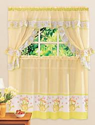 cheap -Country Cute Cartoon Style Pot Pattern Kitchen Curtain - 5 pcs