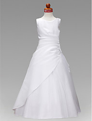 cheap -Princess / A-Line Floor Length Wedding / First Communion Flower Girl Dresses - Satin / Tulle Sleeveless Jewel Neck with Ruched / Ruffles / Spring / Summer / Fall / Winter