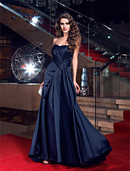 cheap -Sheath / Column Elegant Celebrity Style Open Back Prom Formal Evening Dress Sweetheart Neckline Sleeveless Sweep / Brush Train Satin with Side Draping 2020