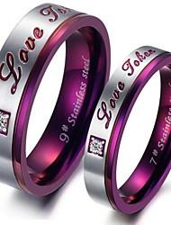 cheap -Couple Rings Purple Titanium Steel Relationship Ladies Fashion / Women's / Rhinestone