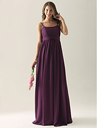 cheap -Ball Gown / A-Line / Sheath / Column Spaghetti Strap Floor Length Chiffon Bridesmaid Dress with Bow(s) / Pleats / Draping