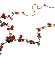 cheap -Women's Red Cora Chain Necklace Cherry Fruit Ladies Fashion Acrylic Alloy Red Necklace Jewelry For Party Daily Casual