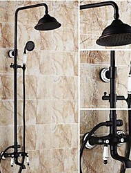 cheap -Shower Faucet - Antique Oil-rubbed Bronze Shower System Ceramic Valve Bath Shower Mixer Taps / Brass / Two Handles Three Holes