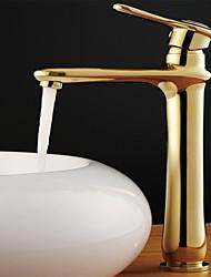 cheap -Antique Vessel Ceramic Valve One Hole Single Handle One Hole Ti-PVD, Bathroom Sink Faucet