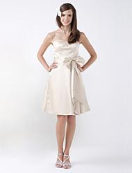 cheap -Princess / A-Line Sweetheart Neckline / Strapless Knee Length Satin Bridesmaid Dress with Sash / Ribbon / Bow(s)