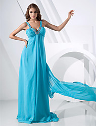 cheap -Ball Gown All Celebrity Styles Inspired by Venice Film Festival Open Back Prom Formal Evening Dress Straps V Neck Sleeveless Watteau Train Sweep / Brush Train Chiffon with Beading Draping Side Draping