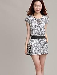 cheap -Women's Work Dress - Geometric Summer Cotton White Black
