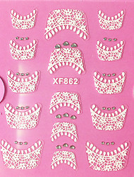 cheap -3d rhinestone french lace nail art stickers xf series no 862