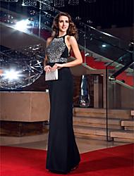 cheap -Sheath / Column Elegant Celebrity Style Sparkle & Shine Prom Formal Evening Dress Jewel Neck Sleeveless Floor Length Jersey with Crystals 2020 / Open Back