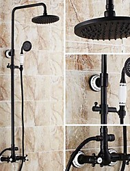 cheap -Shower Faucet - Antique Oil-rubbed Bronze Tub And Shower Ceramic Valve Bath Shower Mixer Taps / Brass / Two Handles Three Holes