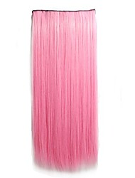 cheap -Human Hair Extensions Straight Synthetic Hair Hair Piece Pink