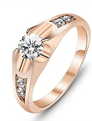 cheap -Women's Statement Ring Diamond Cubic Zirconia Gold Rose Gold Cubic Zirconia Gold Plated Ladies Unique Design Wedding Party Jewelry Solitaire Round Cut Love