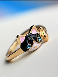 cheap -Women's Statement Ring Pussy Rings Synthetic Diamond Dark Blue Imitation Diamond Alloy Ladies Personalized Luxury Party Daily Jewelry Cat Animal Cheap / Crystal
