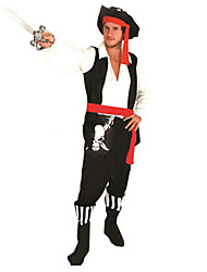 cheap -Pirate Cosplay Costume Party Costume Men's Halloween Carnival Festival / Holiday Polyester Men's Carnival Costumes Patchwork / Top / Hat