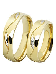 cheap -Couple Rings AAA Cubic Zirconia Golden Black Stainless Steel Titanium Steel Gold Plated Love Ladies Luxury 2pcs / Couple's / Couple's / Imitation Diamond / Band Ring