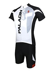 cheap -ILPALADINO Men's Short Sleeve Cycling Jersey with Shorts Black / White Bike Clothing Suit Breathable Quick Dry Ultraviolet Resistant Sports Polyester Lycra Letter & Number Clothing Apparel