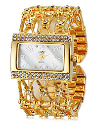 cheap -Women's Elegant Diamante Square Case Steel Band Quartz Wrist Watch