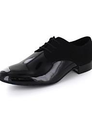 cheap -Men's Modern Shoes Leatherette Lace-up Oxford Chunky Heel Non Customizable Dance Shoes Black / EU41