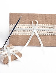 cheap -Guest Book / Pen Set Linen Garden Theme With Bowknot / Ribbons Guest Book / Pen Set