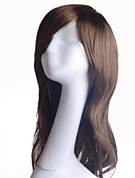 cheap -Capless Extra Long Wavy Brown 100% Heat-resistant Fiber Wig Side Bang
